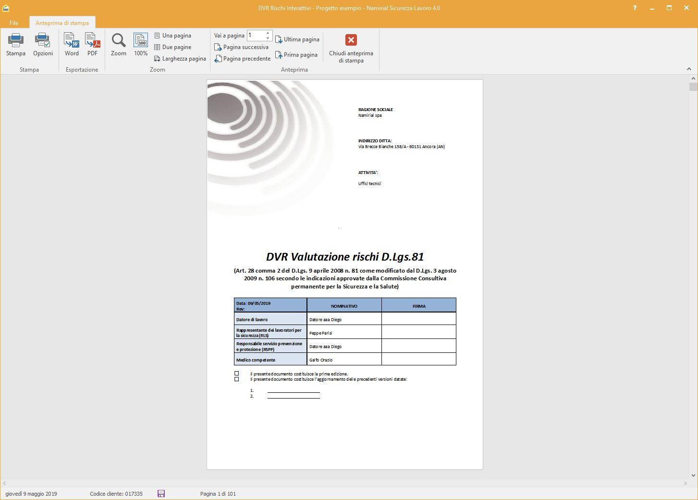 Stampa DVR - Software Sicurezza Lavoro