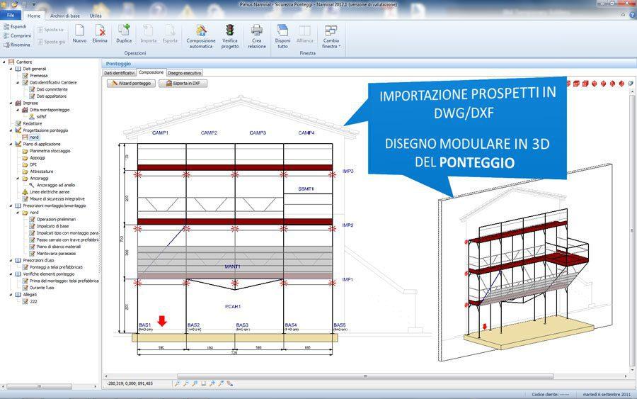 Sicurezza Ponteggi - Importazione dxf/dwg e 3D del ponteggio
