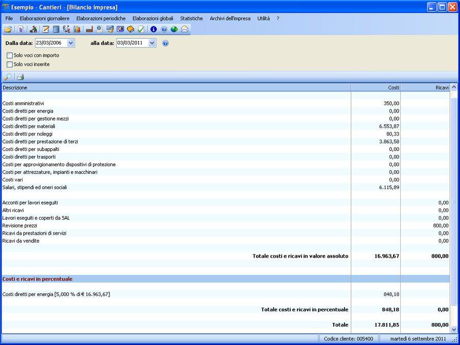 Software Contabilità Cantieri - Bilancio Impresa