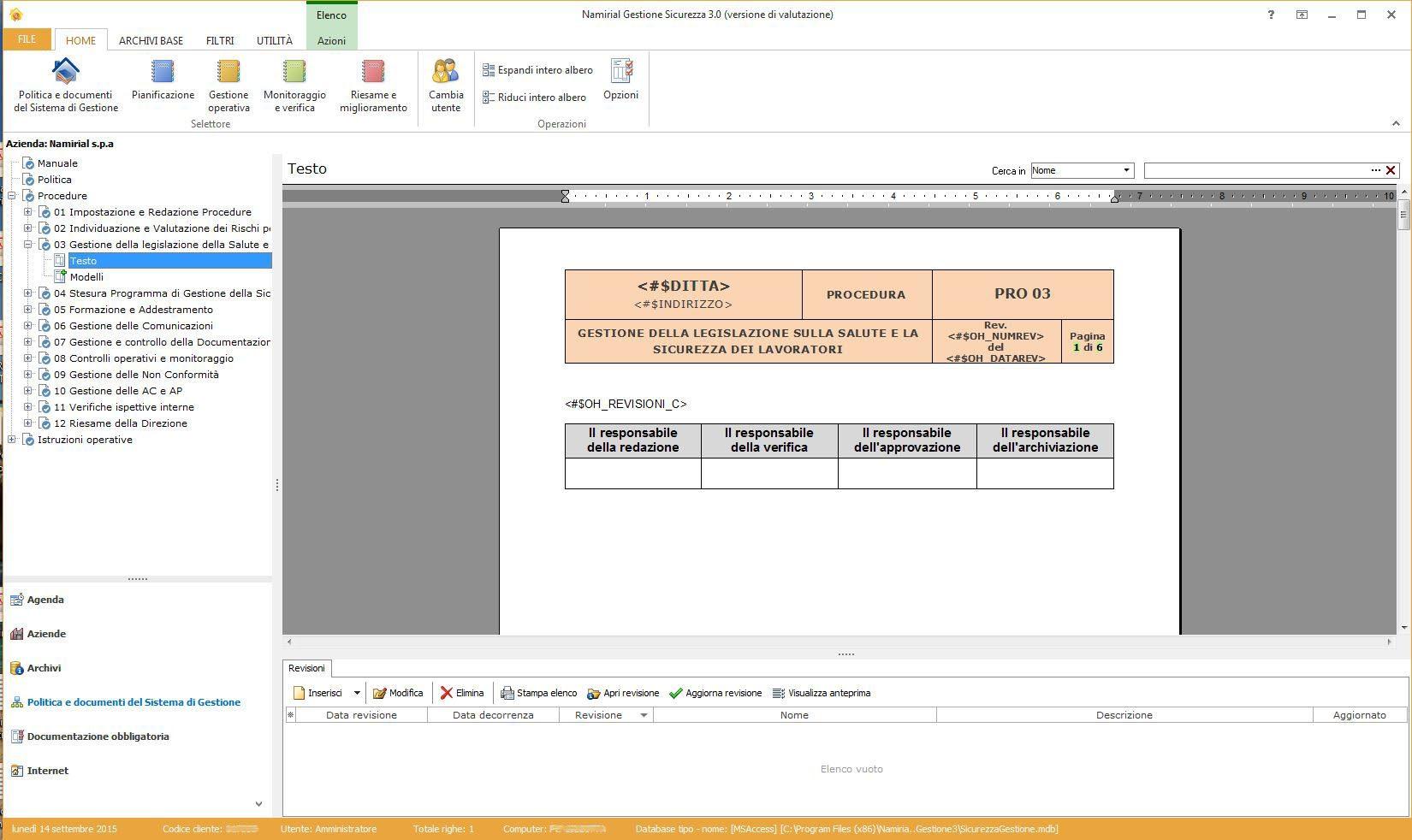 Sicurezza Gestione - Politica e documenti del sistema di Gestione