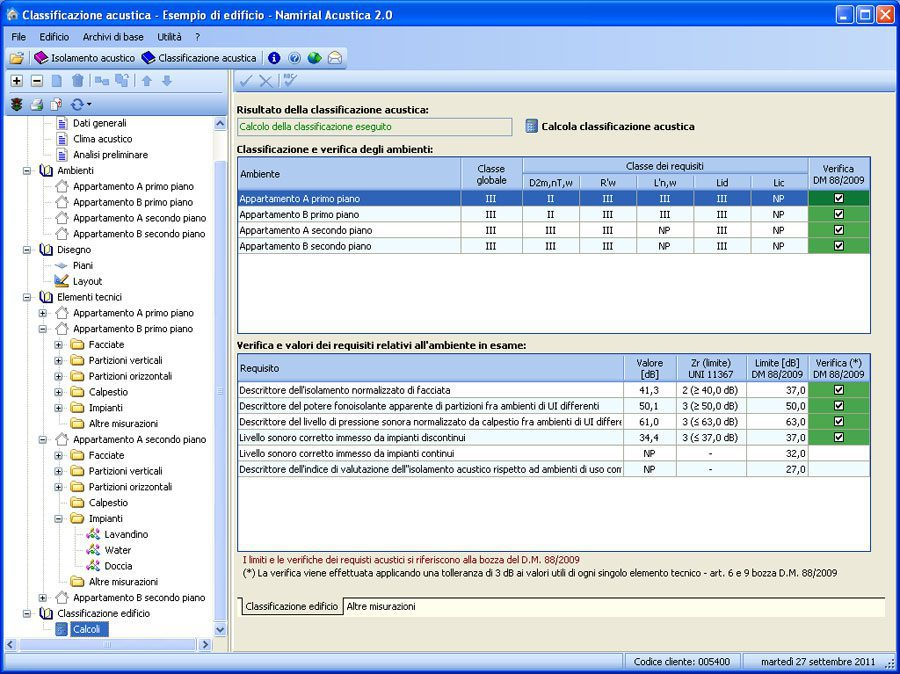 Software Acustica - Calcolo classificazione acustica
