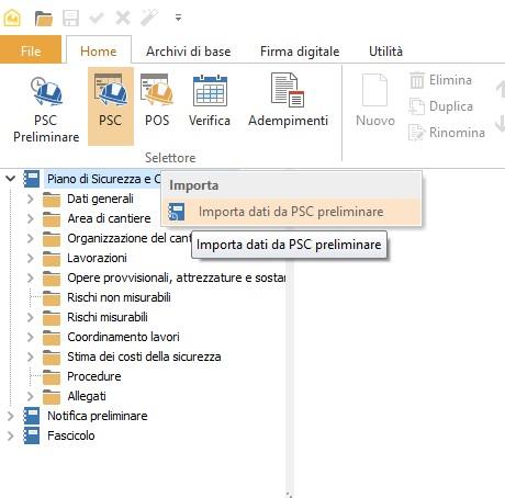 Importa dati da PSC preliminare