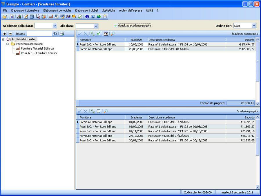 Software Contabilità Cantieri - Scadenzario fornitori