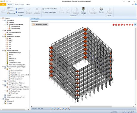 Software Sicurezza Ponteggi - Visualizzazione 3D di ponteggio multidirezionale