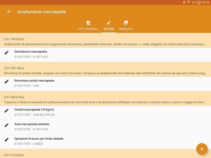 App LibrettoMisure - Dettagli misure