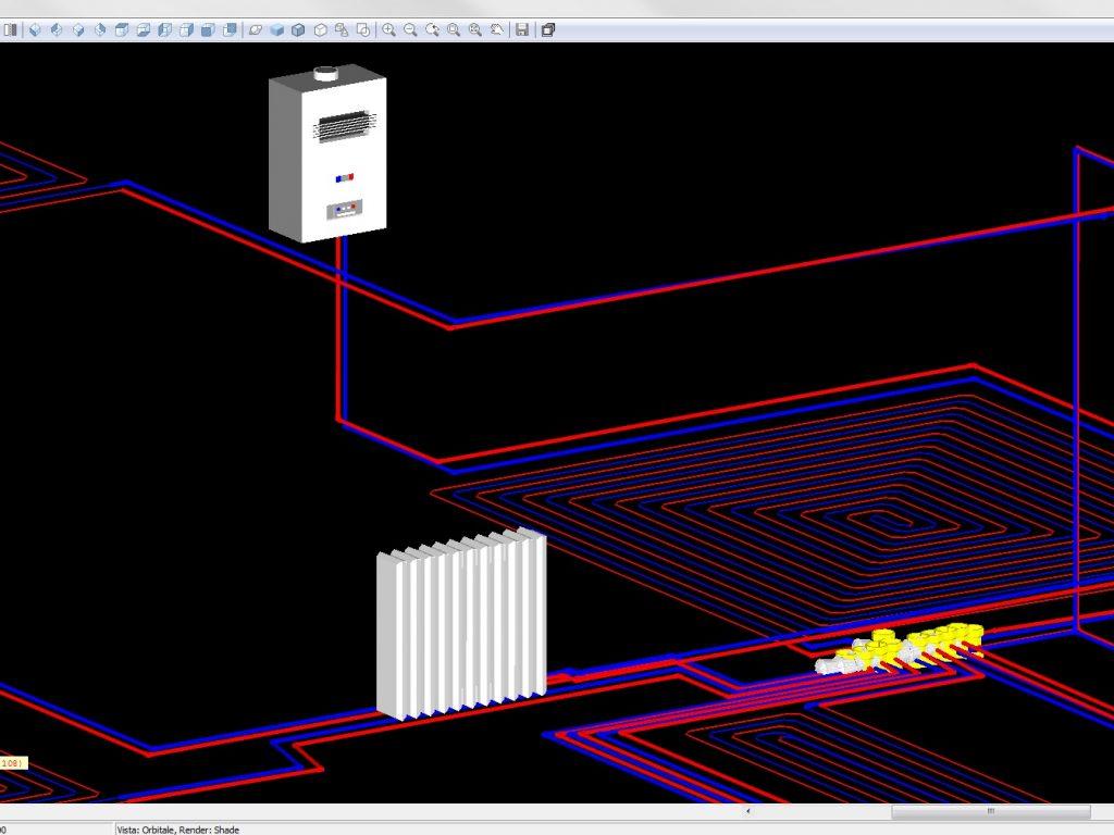 Clima Impianti: particolare 3D della rete di riscaldamento con radiatori e pannelli radianti