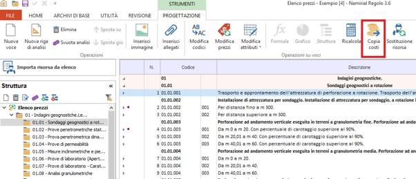 Regolo - Analisi dei costi - Copia costo su prezzo