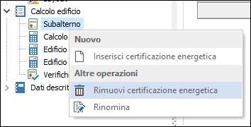Rimuovi certificazione energetica