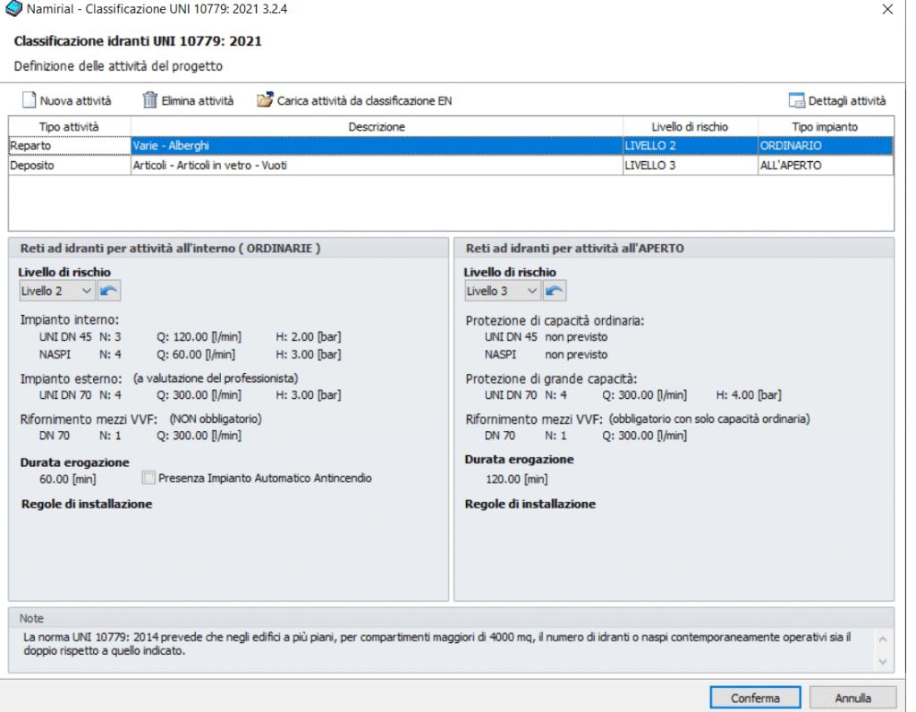 CPI win Impianti - Classificazione UNI 10779-2021