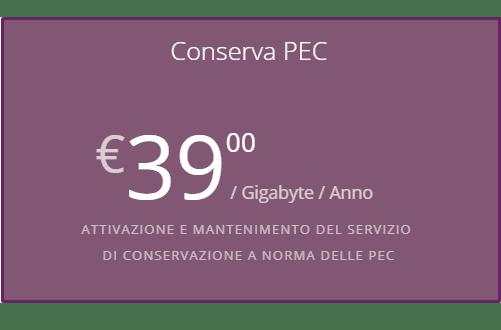 Conservazione PEC - Condizioni economiche Conserva PEC