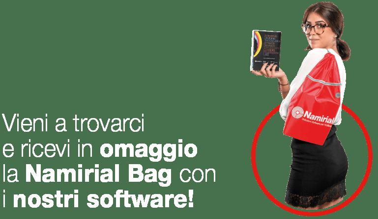 Vieni a trovarci e ricevi in omaggio la Namirial Bag con i nostri software